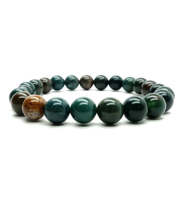 Bloodstone Bracelet 20 - Stretch 7mm Green Red Round Stone Crystal Healing - CG11PBCALUR