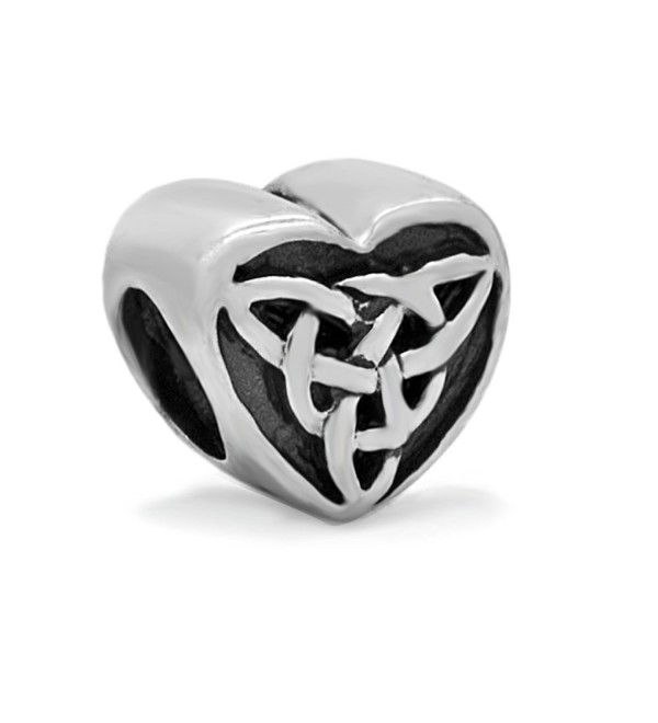 Everbling Celtic Knot Triquetra Heart 925 Sterling Silver Charm Fits European Charm Bracelet - CB118V20SX5
