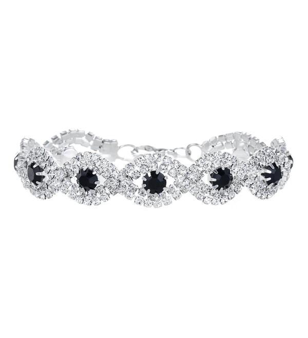 Yumei Jewelry Rhinestone Bracelet Silver-tone Wedding Bridal Bracelet Crystal Bracelet - D:Main Stone:Black - C417YTEQMIS