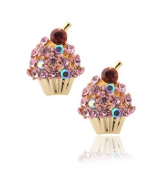 Spinningdaisy Crystal Cherry on the Top Cupcake Earrings (Pink) - CX110SSAPPP