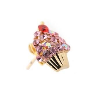 Spinningdaisy Crystal Cherry Cupcake Earrings