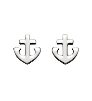 Small Stainless Steel Christian Cross and Anchor Stud Earrings - CB11DJS6ZRJ