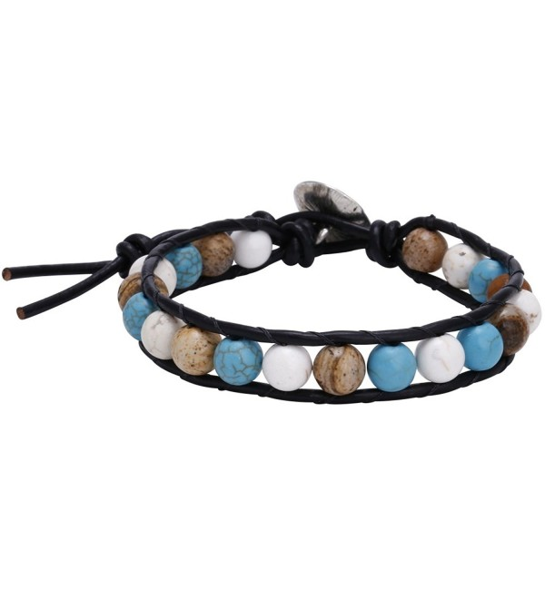 Reconstituted Turquoise Howlite Beads Bracelet Handmade Genuine Leather Wrap Bracelet 7.8'' - Black - CY12BOFCEJV