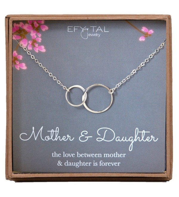 Mother Daughter Necklace - Sterling Silver two interlocking infinity circles- Mothers Day Jewelry Gift - CY17YY4CZXZ