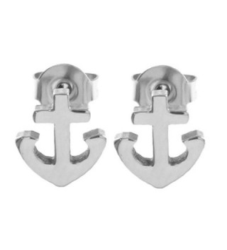 Small Stainless Christian Anchor Earrings in Women's Stud Earrings