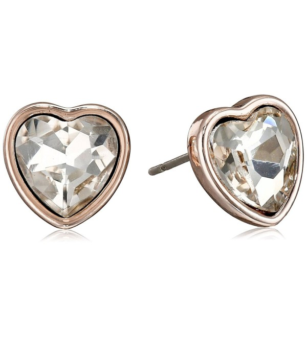 T Tahari Essentials Heart with Crystals Stud Earrings - Rose Gold - CJ128C151Y5