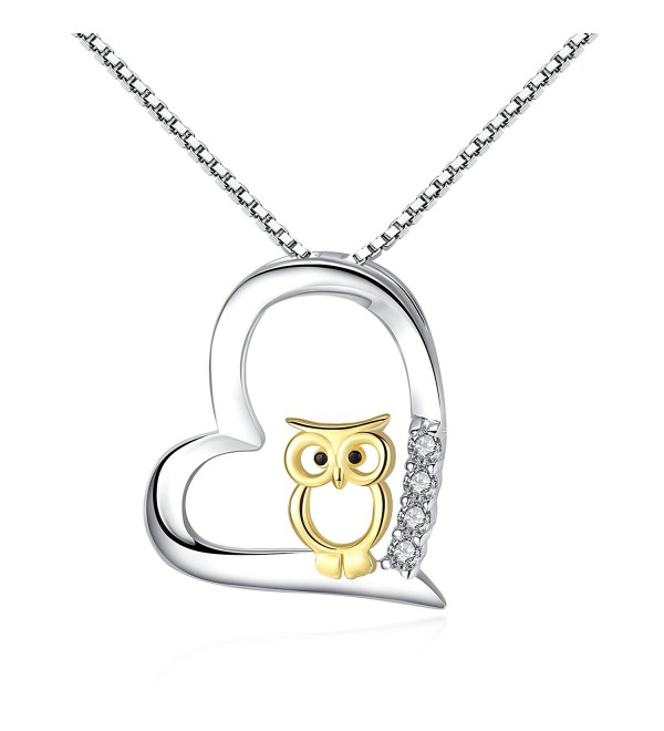 S925 Sterling Silver Women Necklace Love Heart with Gold Owl Pendant Necklaces for Mom Jewelry Necklaces - C1188HLKKZX