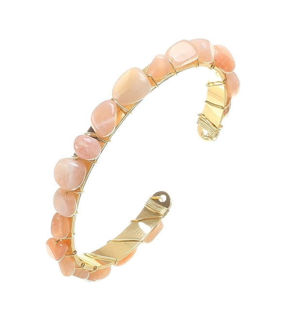 Fettero Bracelet Natural Stone Handmade Women Gemstone Cuff Wrap 14K Gold Fill Charm Bangle - Pink - C81854CKU66
