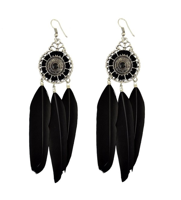 Bohemian Fashion Jewelry Silver Plated Hallow Out Drop Leaves Feather Dangle Hook Earrings - Black - C512JDL0YTZ