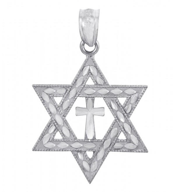 925 Sterling Silver Jewish Charm Cross Star of David Pendant - CD119JN78A5
