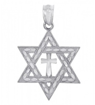 925 Sterling Silver Jewish Charm Cross Star of David Pendant - CD119JN78A5