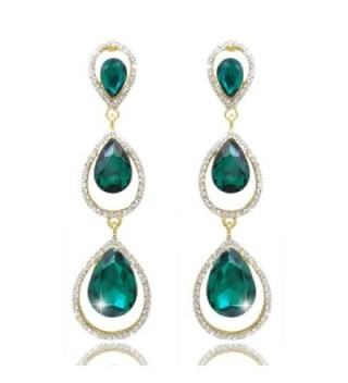 EVER FAITH Women's Austrian Crystal 3 Teardrop Chandelier Dangle Earrings Emerald Color Gold-Tone - C511KVMNAI7