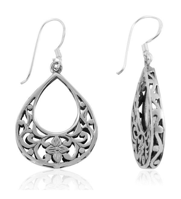 MIMI 925 Sterling Silver Bali Inspired Filigree Flower Teardrop Dangle Hook Earrings - C6126L3I1WP