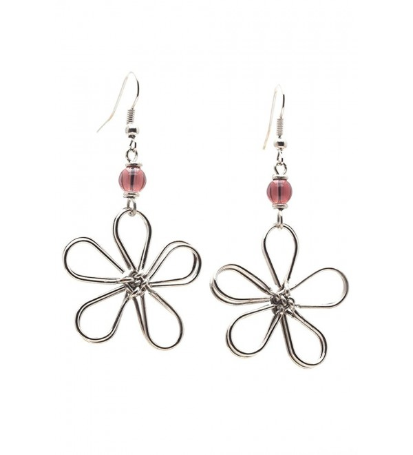 Maisha Fair Trade Wire Daisy Drop Earring - Pink - CX11EOP8DSP