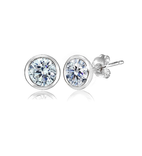 Sterling Silver 5mm Bezel-set Martini Stud Earrings created with Swarovski Crystals - April - Clear - CH186GDGUII