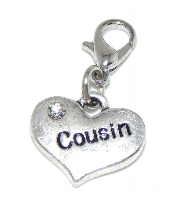 "Jewelry Monster Clip-on 2 Sided ""Cousin Heart"" w/ White Crystals Charm Bead - C511TYQVC4L"