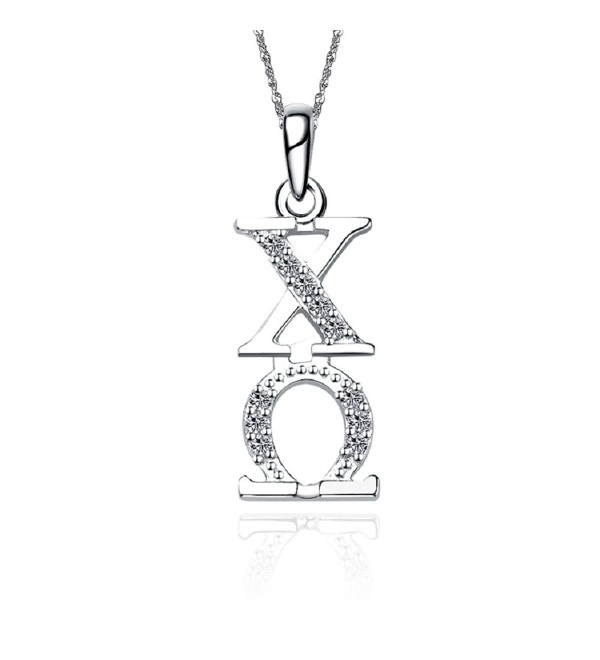 "Chi Omega Necklace with a 18"" Silver Chain (CO-P001) - C211ILZ170Z"