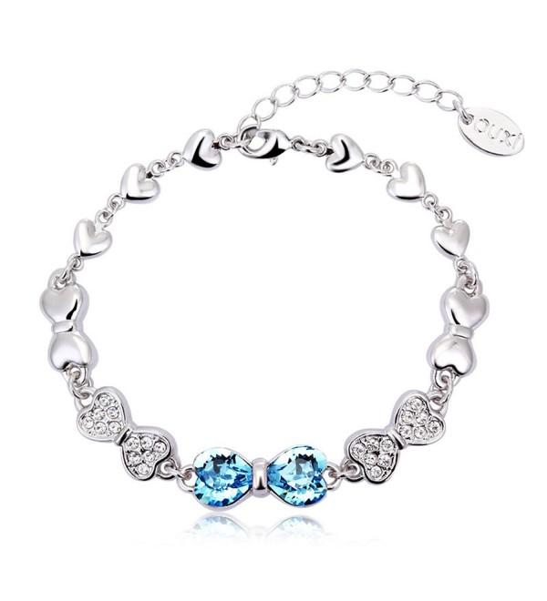 Swarvoski Crystal Elements Blue Bownot Link Bracelet BSS006-B - CQ11D34CXWF