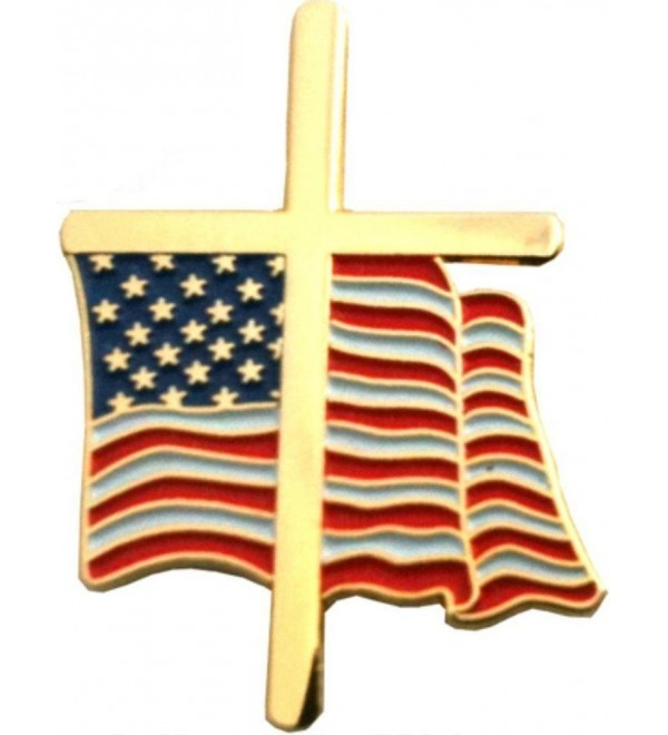 "American Flag Cross 3/4"" Lapel Pin - CI115XMIXND"