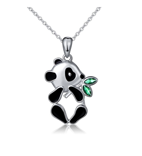 S925 Sterling Silver Lovely Panda Eat Bamboo Pendant Necklace - CR1827TUXLD