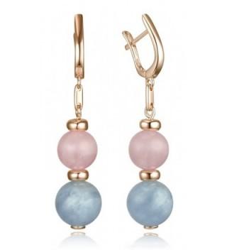 Lanfeny Sterling Earrings Gemstone Aquamarine
