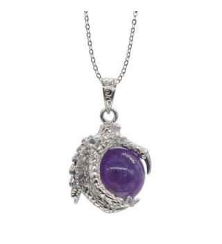 Silver Dragon Claw Necklace Gemstone Beaded Charm Pendant Necklace for Men - Amethyst - CJ12H7GUS53