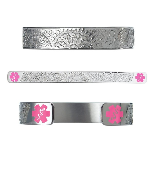 "Divoti Custom Engraved Fancy Paisley 316L Medical Alert Bracelet -6"" Cuff (fits 6.5-8.0"") - Pink - CX12N356W67"