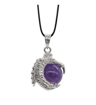 Amethyst Beaded Silver Dragon Necklace