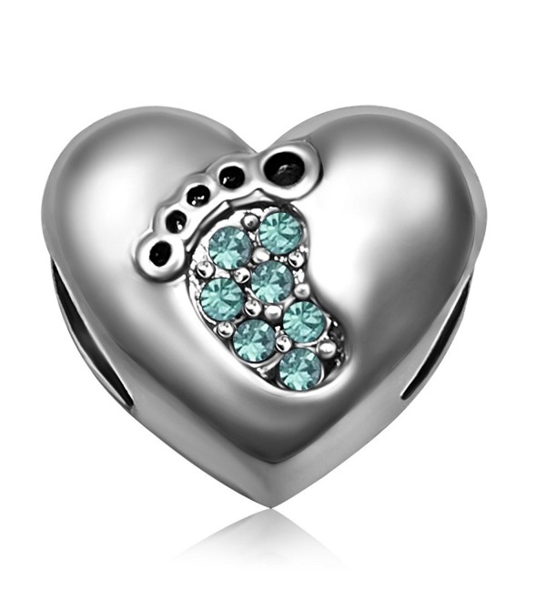JMQJewelry Heart Love Baby Footprints Jan-Dec Birthstone Crystal Dangle Charms Beads For Bracelets - CX185ZHKCR7