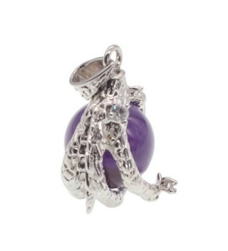 Amethyst Beaded Silver Dragon Necklace in Women's Pendants