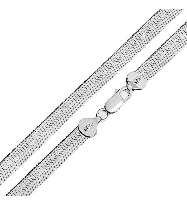 Bling Jewelry Sterling Silver 080 Gauge Flexible Herringbone Necklace - CR114CM4NE3