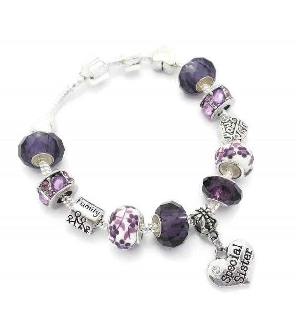 Purple Special Sister Starter Charm Bracelet European Style Gift Boxed 20cm - CD12CHTBI13