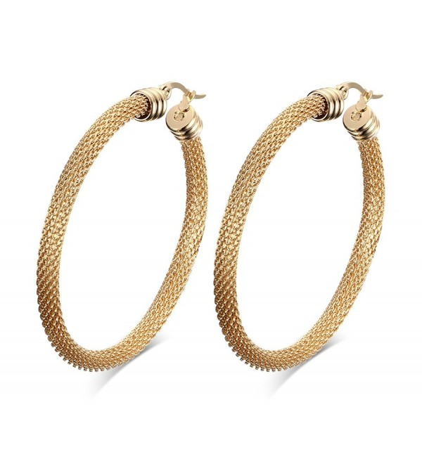 52mm Stainless Steel Gold Mesh Wire Large Hoop Earring for Women- Anti Allergy - CL18673DDX3
