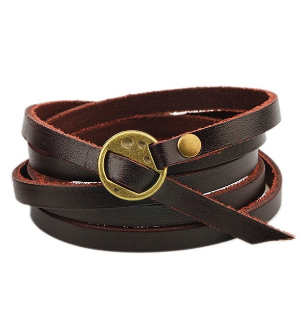 The November Nocturne Fashion 5 Row Leather Unisex Wrap Bracelet Fashion Jewelry - Brown - CN17YAM3I0T