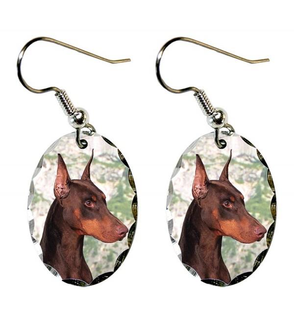 Canine Designs Doberman Pinscher Scalloped Edge Oval Earrings - C0117521LJH