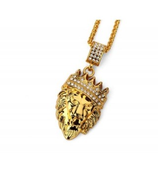 "18k Gold Plated King Lion Pendant Necklace with 24"" Stainless Steel Rope Chain - C518764EYI4"