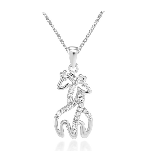 "925 Sterling Silver Simulated Cubic Zirconia Twin Hugging Giraffe Pendant Necklace- 18"" - CH11F4S36QZ"