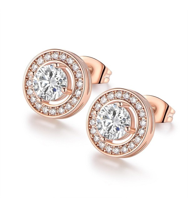 VOLUKA Particular Rose Gold Tone Round Shape Crystal CZ Diamond Stud Earrings for Women - CP1890ITUYR