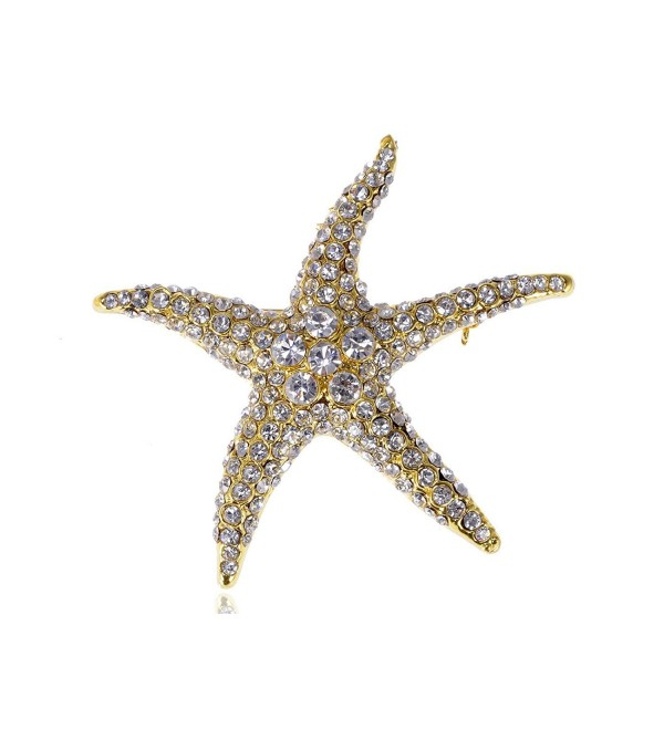 Alilang Golden Tone Clear Crystal Colored Rhinestones Nautical Sea Star Fish Brooch Pin - CA116E0XA85