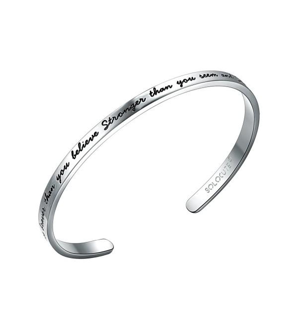 SOLOCUTE Bracelet Engraved Stronger Inspirational - White Gold - C512NUQCNR6