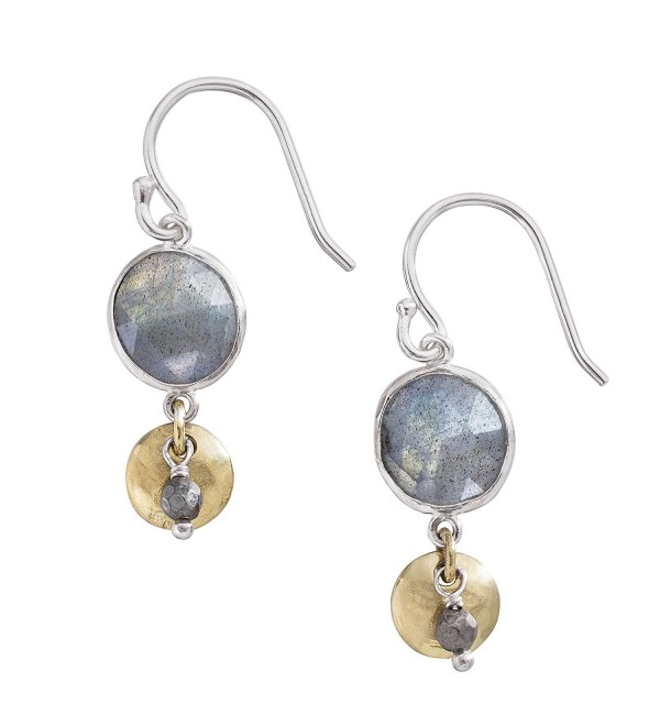 Silpada 'Stepping Stone' Sterling Silver- Brass- Labradorite- and Pyrite Drop Earrings - CE12O4SAS1Z