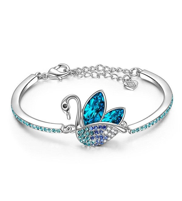 LadyColour Swan Dance Bangle Bracelets Swarovski Crystals Animal Jewelry for Women Girls - C31857CI62D