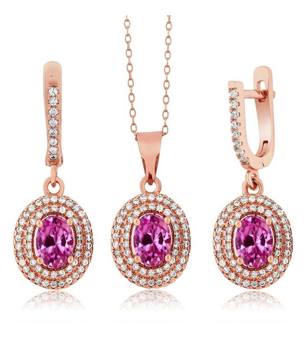4.63 Ct Pink Created Sapphire 925 Rose Gold Plated Silver Pendant Earrings Set - CM11O5BBK6P