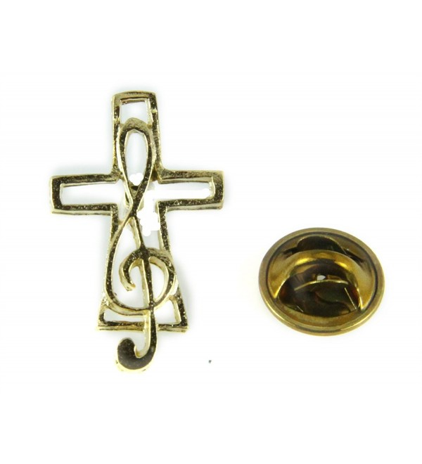 6030383 Music Note & Cross Lapel Pin Music Minister Volunteer Church Choir Lay Minister Clef Note - CS11KCFR03Z