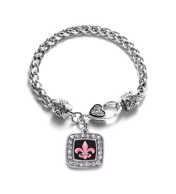 Fleur De Lis Lily Flower French New Orleans Classic Silver Plated Square Crystal Charm Bracelet - C411MV402Y9