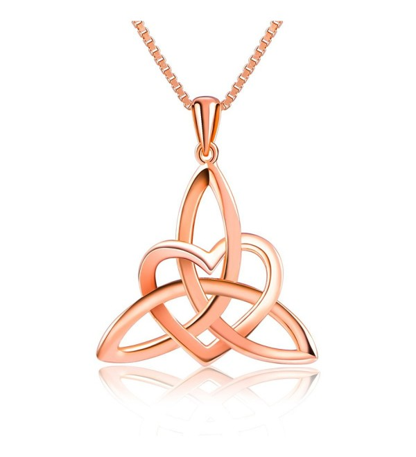 "Sterling Silver Good Luck Irish Celtic Knot Triangle Lover Heart Shaped Pendant Necklace- 18"" - CP12I4L3BC7"