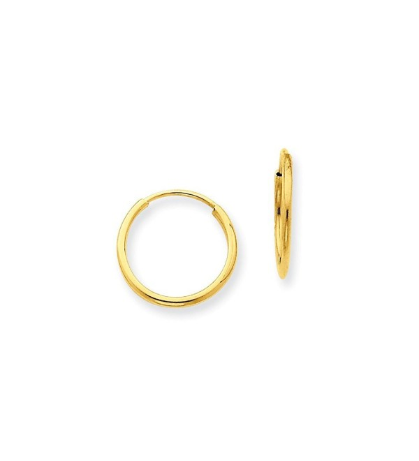 1.25mm Endless Hoop Earrings in Genuine 14k Yellow Gold - 13 to 73mm - CT17YLZUAST