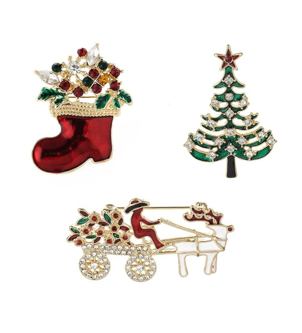 Christmas Brooch Pins set Holiday Brooch Xmas Pin Lot Party Favor set Christmas gifts christmas stocking pins set - C4187509ALQ
