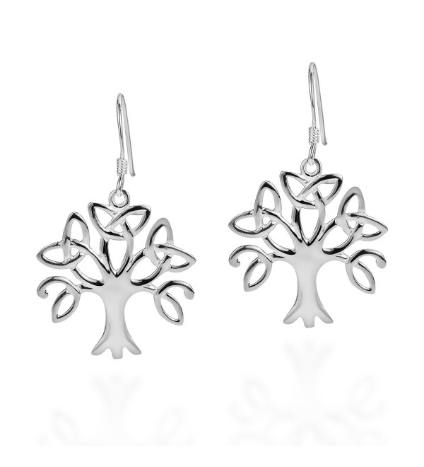 .925 Sterling Silver Tree Of Life Trinity Celtic Knot Triquetra Fish Hook Earrings - CY11OP6VMXV