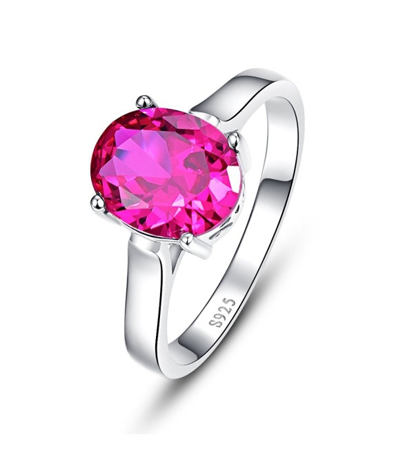 BONLAVIE Women's 925 Sterling Silver 3 ct Oval Cut Created Ruby Anniversary Solitaire Engagement Ring - CE12NDX6FM0